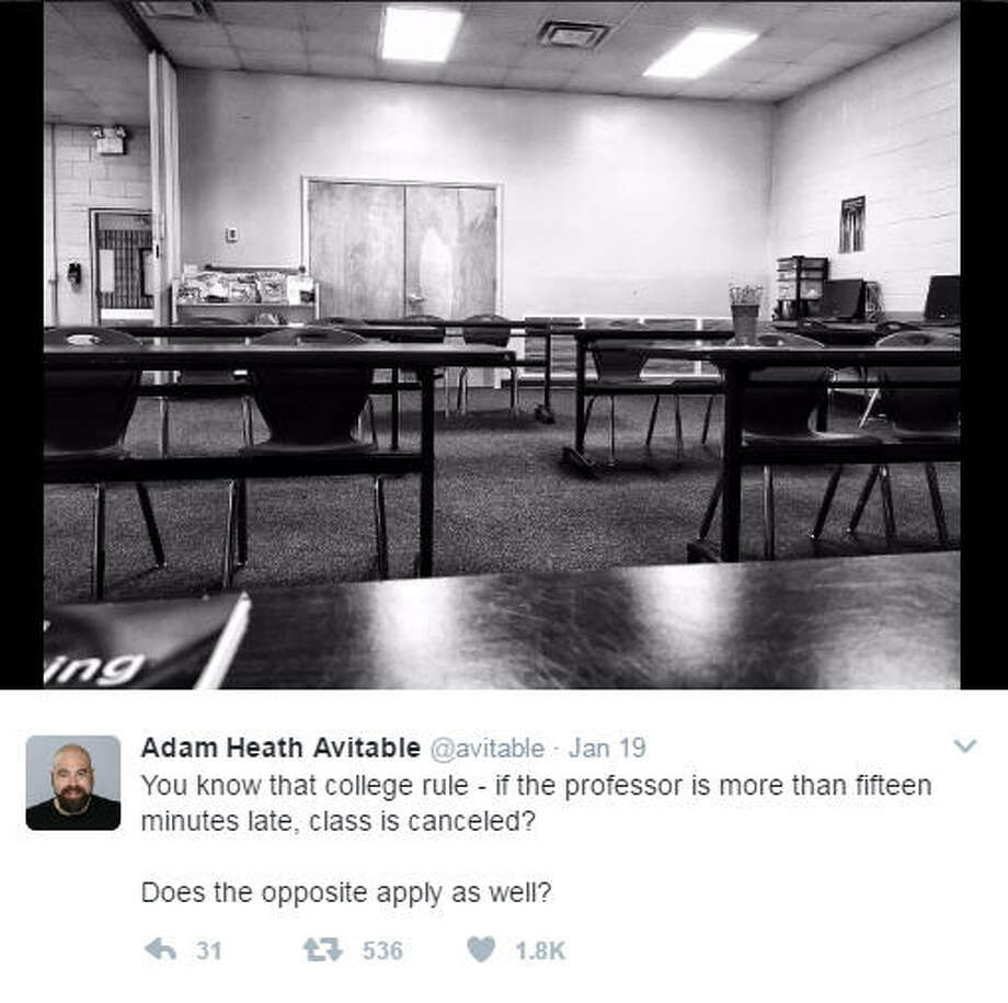 Professor, comedian Adam Heath Avitable live tweeted the painful moments where no students showed up to his class.>>KEEP CLICKING TO SEE THE HILARIOUS MOMENTS UNFOLD.Photo: Adam Heath Avitable Twitter Photo: Twitter