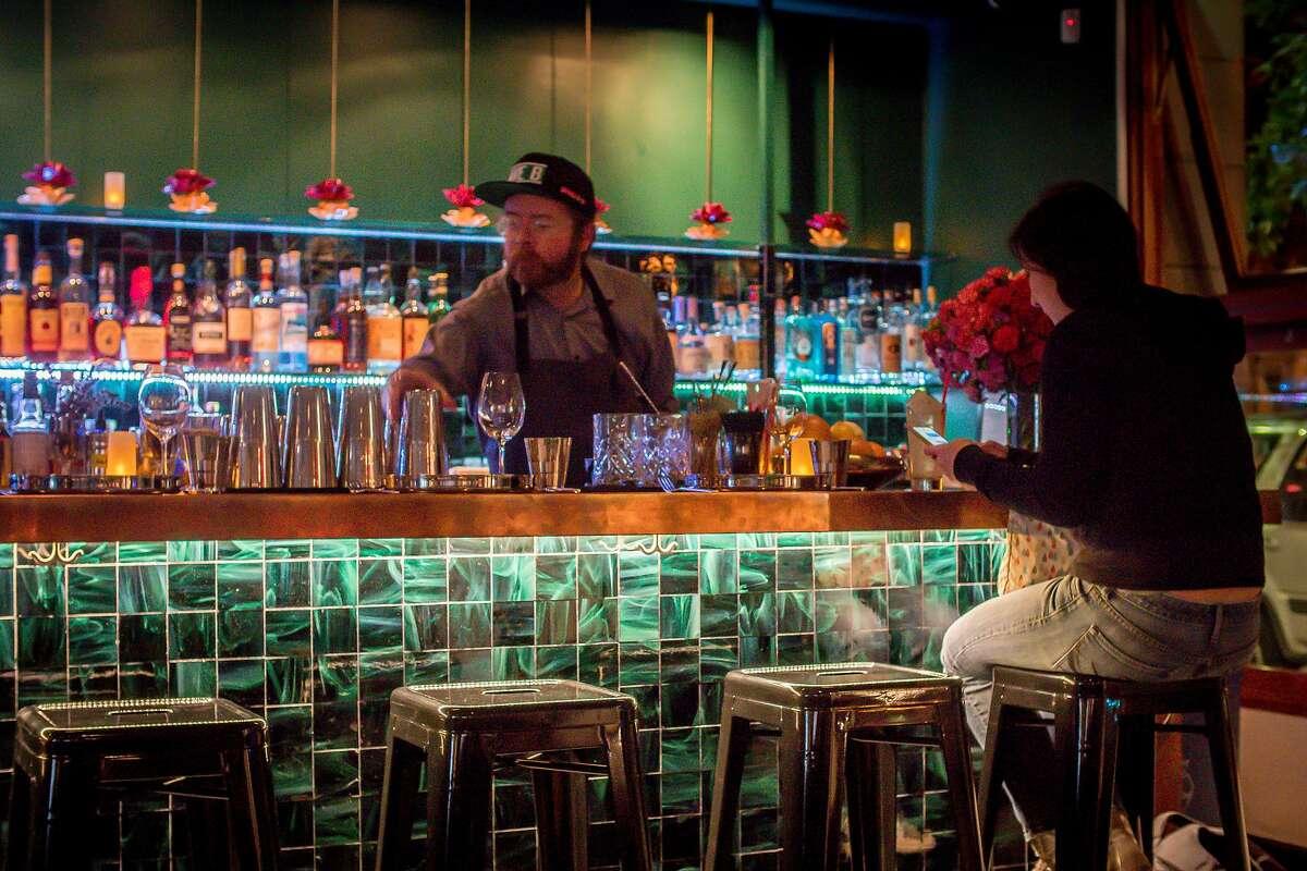 The bar at Babu Ji in San Francisco is seen on January 19th, 2017.
