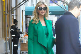 Ivanka Trump wore an emerald green dress and coat to the inauguration  activities.