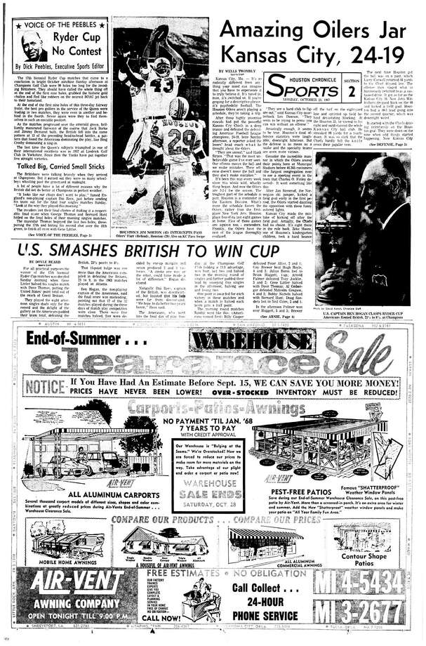 Houston Chronicle:  October 23, 1967 - Section 2, Page 1. Ryder Cup No Contest.  U.S. SMASHES BRITISH TO WIN CUP  (Champions GC) / Houston Chronicle microfilm
