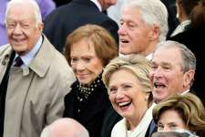 Former President Jimmy Carter (L-R), Rosalynn Carter, Former President Bill Clinton, Hillary Clinton and Former President George W. Bush wait for the 58th Presidential Inauguration to begin at the U.S. Capitol in Washington, Friday, Jan. 20, 2017.
