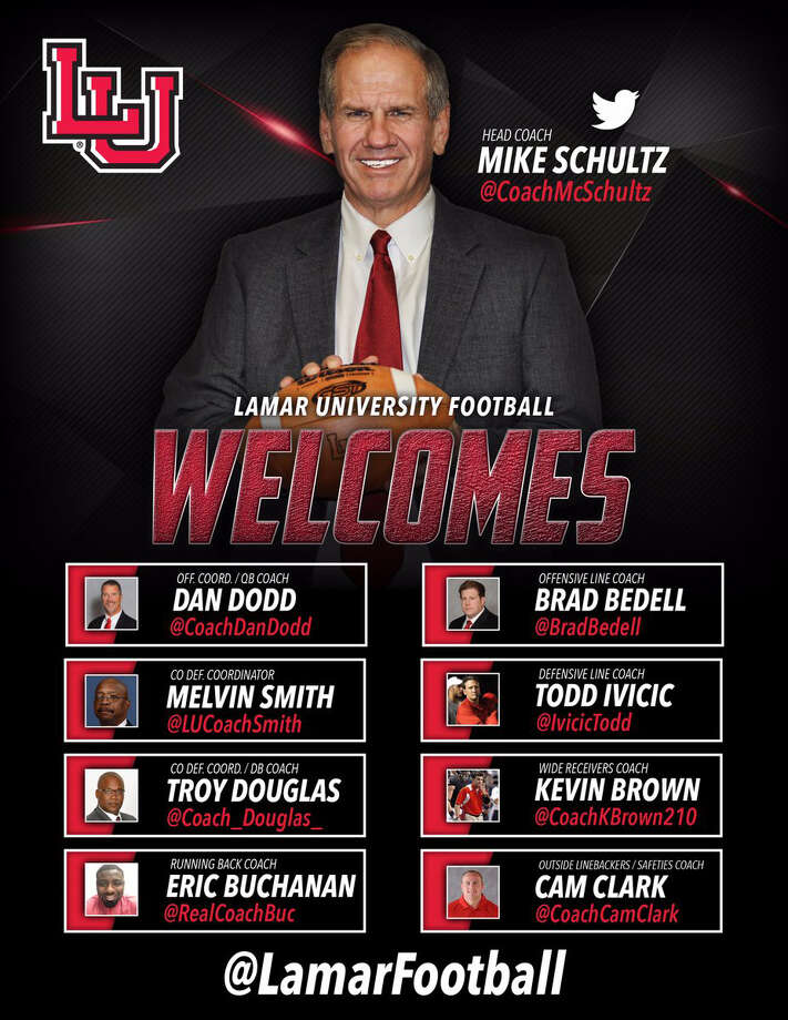 New Lamar football coach Mike Schultz named eight members to his coaching staff, the university announced Friday morning. (Twitter.com/LamarFootball) Photo: (Twitter.com/LamarFootball)