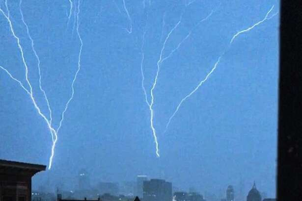 Lightning strikes above downtown San Francisco.