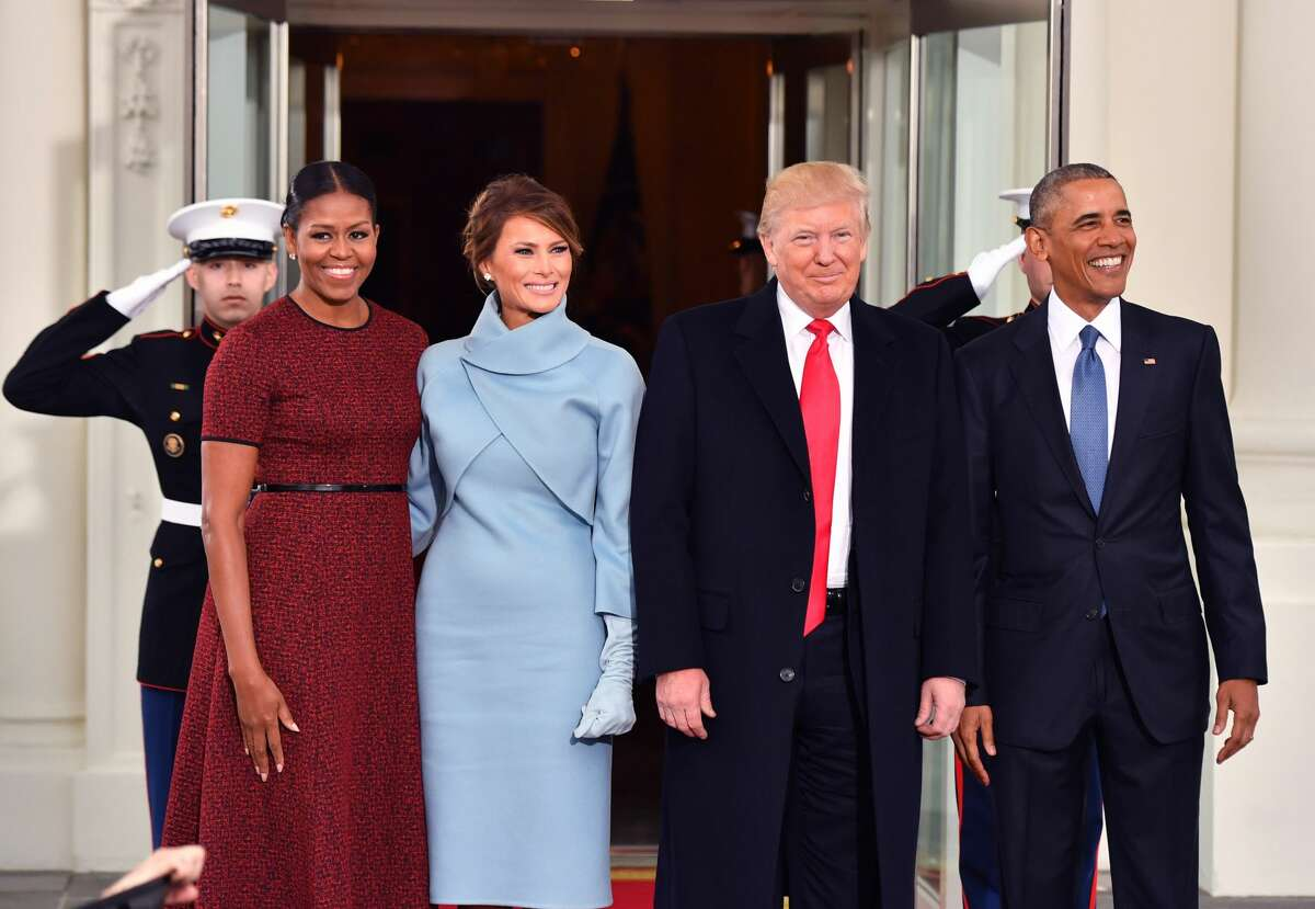 President Barack Obama (R) and Michelle Obama (L) pose with President-elect Donald Trump and wife Melania at the White House before the inauguration on January 20, 2017 in Washington, D.C. Trump becomes the 45th President of the United States.