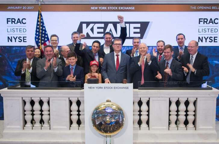 Representatives of Keane Group. Inc., ring the opening bell, Friday, Jan. 20, 2017.