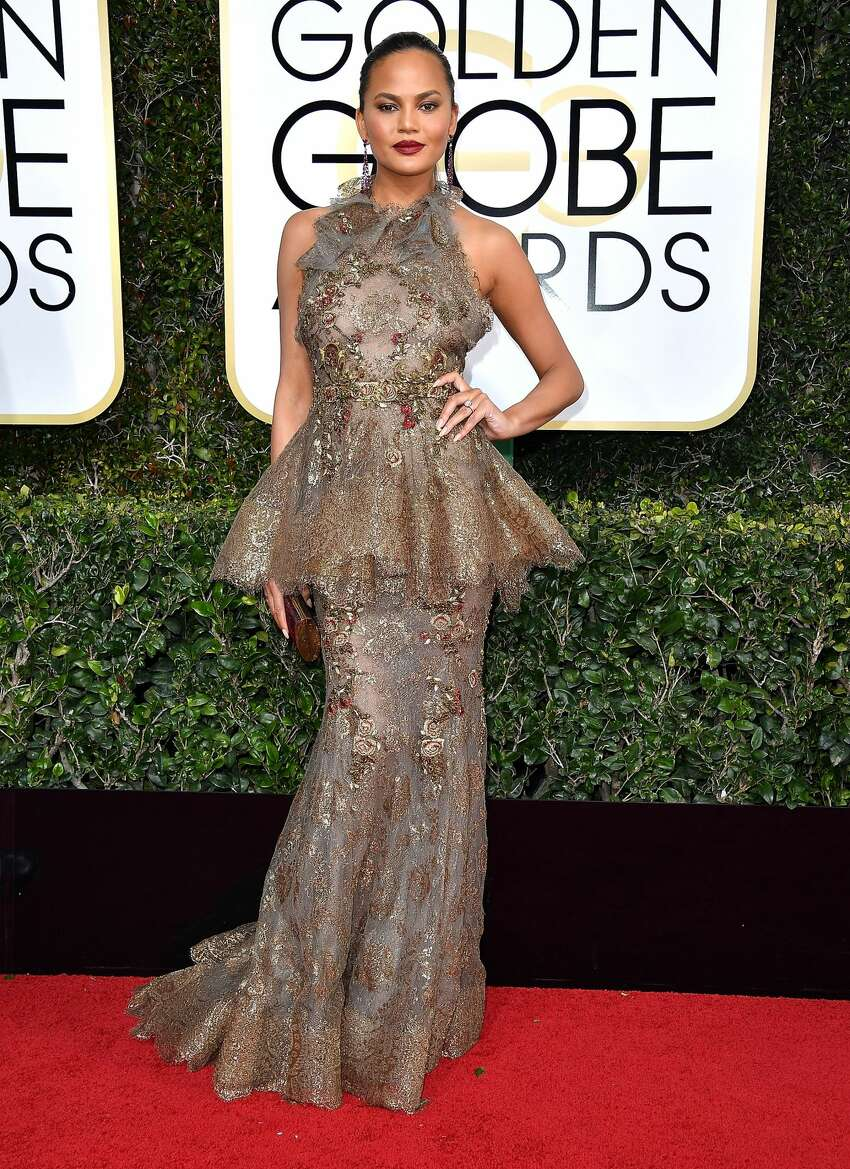 Chrissy Teigen arrives at the 74th Annual Golden Globe Awards at The Beverly Hilton Hotel in 2017.