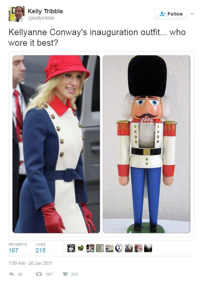 "KELLYANNE'S 'REVOLUTIONARY' FASHIONThe world of high-fashion has claimed its first inauguration victim. Twitter is going crazy over Kellyanne Conway's ""Trump revolutionary"" outfit. Photo: Twitter/ @KellyTribble"