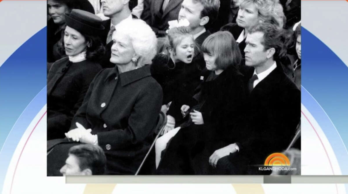 Former first daughter Jenna Bush Hager shared a funny throwback photo on NBC's TODAY show Thursday, Jan. 19, 2017, from her grandfather's inauguration in 1989 of a moment that most people probably missed.