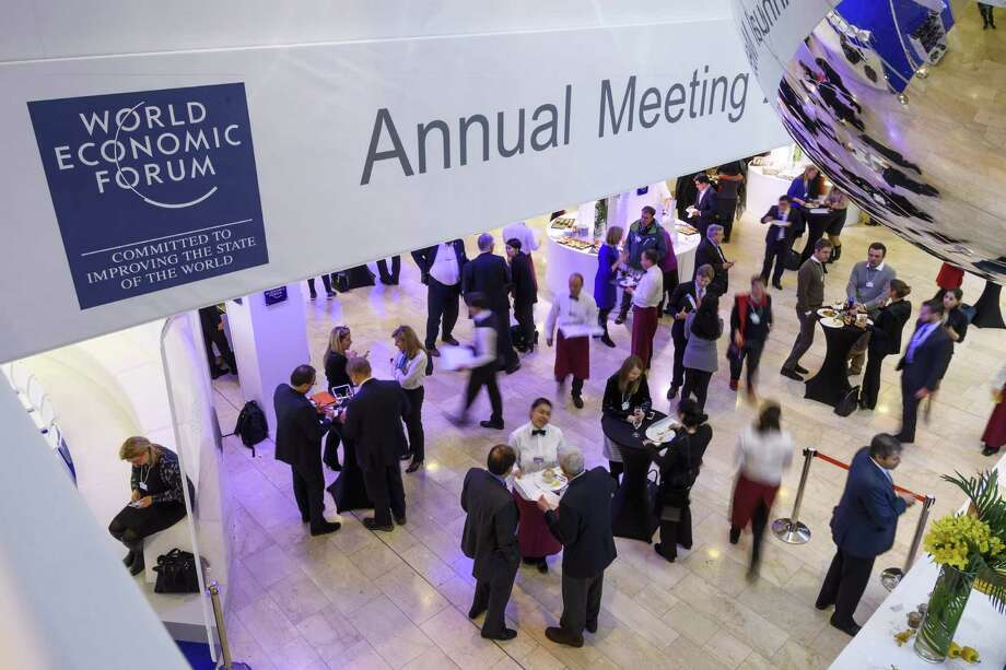 Participants have lunch Friday, the closing day of the World Economic Forum in Davos. Uncertainty over whether Trump's presidency will mark the end of globalization dominated discussions all week at an event synonymous with international business. Photo: Fabrice Coffrini /AFP /Getty Images / AFP or licensors