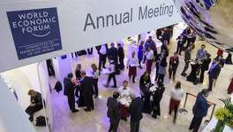 Participants have lunch Friday, the closing day of the World Economic Forum in Davos. Uncertainty over whether Trump's presidency will mark the end of globalization dominated discussions all week at an event synonymous with international business.