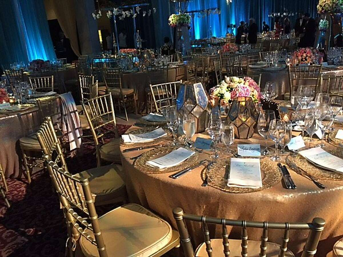 Table settings in North Light Court at Ballet gala