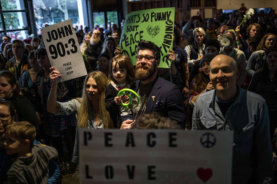 "The packed crowd sings along to ""Give Peace a Chance"" during KEXP's bed in for peace, inspired by Yoko Ono and John Lennon's 1969 bed in, on the day of the inauguration of President Donald Trump, Friday, Jan. 20, 2017. Photo: GRANT HINDSLEY, SEATTLEPI.COM / SEATTLEPI.COM"