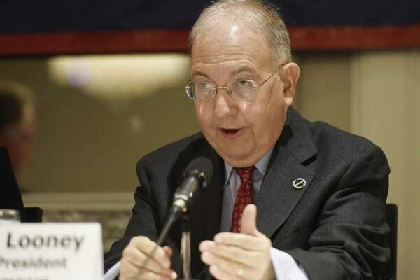 Senate President Pro Tempore Martin Looney (D) speaks at The Business Council of Fairfield County's 2016 Connecticut Legislative Leadership Breakfast at the Crowne Plaza in Stamford last year.