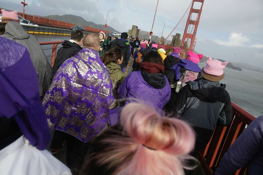 Participants make their way onto the Golden Gate Bridge for Bridge Together on Friday, January 20, 2017 in San Francisco, California. Photo: Lea Suzuki, The Chronicle