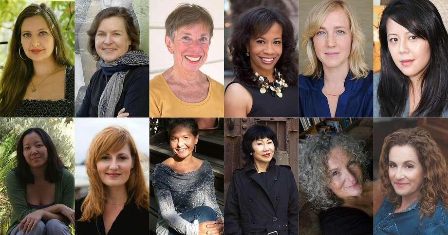 Bay Area authors attending Womens Marches (clockwise, from top left): Carolina De Robertis, Karen Joy Fowler, Edith Gelles, Allyson Hobbs, Edan Lepucki, Beth Nguyen, Aimee Phan, Michelle Richmond, Elizabeth Rosner, Amy Tan, Jane Vandenburgh and Ayelet Waldman. Photo: Chronicle File Photos