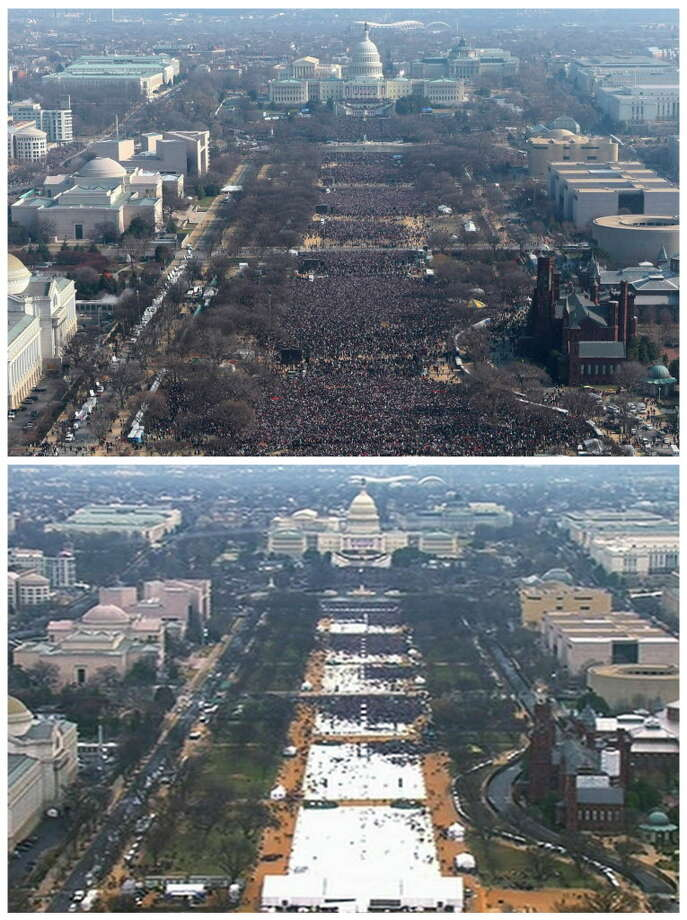 This pair of photos shows a view of the crowd on the National Mall at the inaugurations of President Barack Obama, above, on Jan. 20, 2009, and President Donald Trump, below, on Jan. 20, 2017. The photo above and the screengrab from video below were both shot shortly before noon from the top of the Washington Monument. (AP Photo) Photo: Associated Press / AP