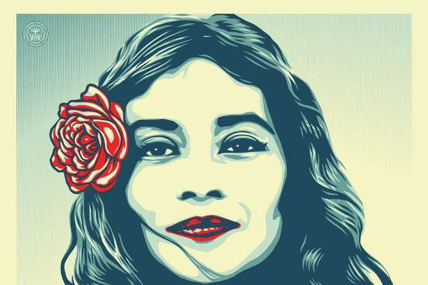 """""""We the People Defend Dignity,"""" one of three images created by Shepard Fairey for the We the People campaign, is based on a portrait by San Antonio-based photographer Arlene Mejorado."""