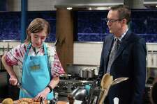 Fairfield eighth-grader CJ Vinas speaks with Chopped Junior Host Ted Allen during the Jan. 17 episode of the cooking competition show.