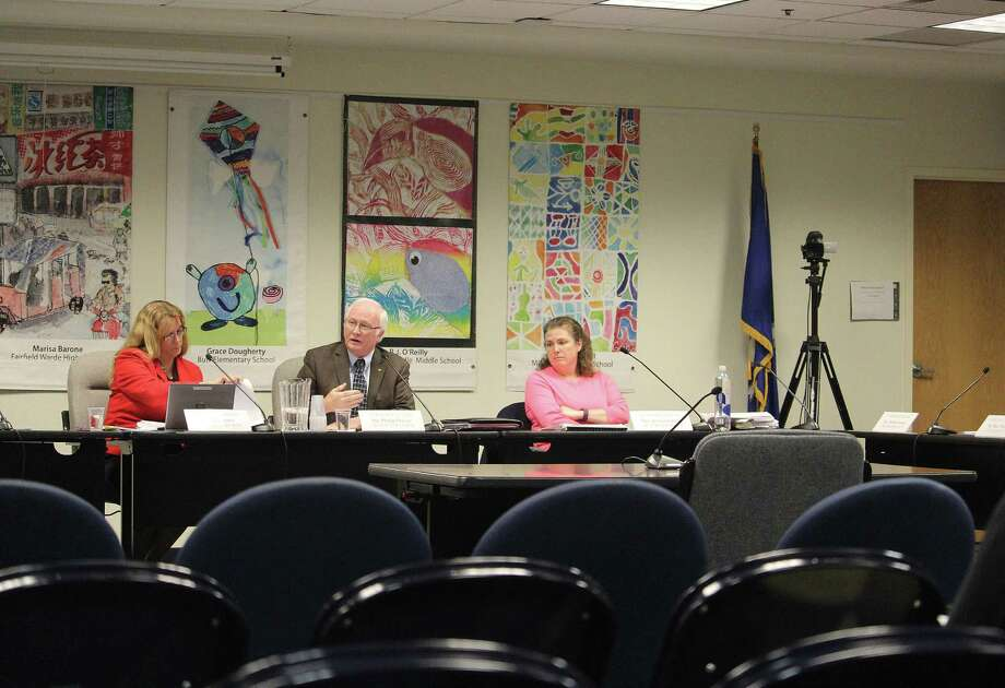 Superintendent Toni Jones, left, Board of Education Chairman Philip Dwyer and board Secretary Jessica Gerber during a Jan. 17, 2017 budget meeting in Fairfield, Conn. Photo: Laura Weiss / Hearst Connecticut Media / Fairfield Citizen