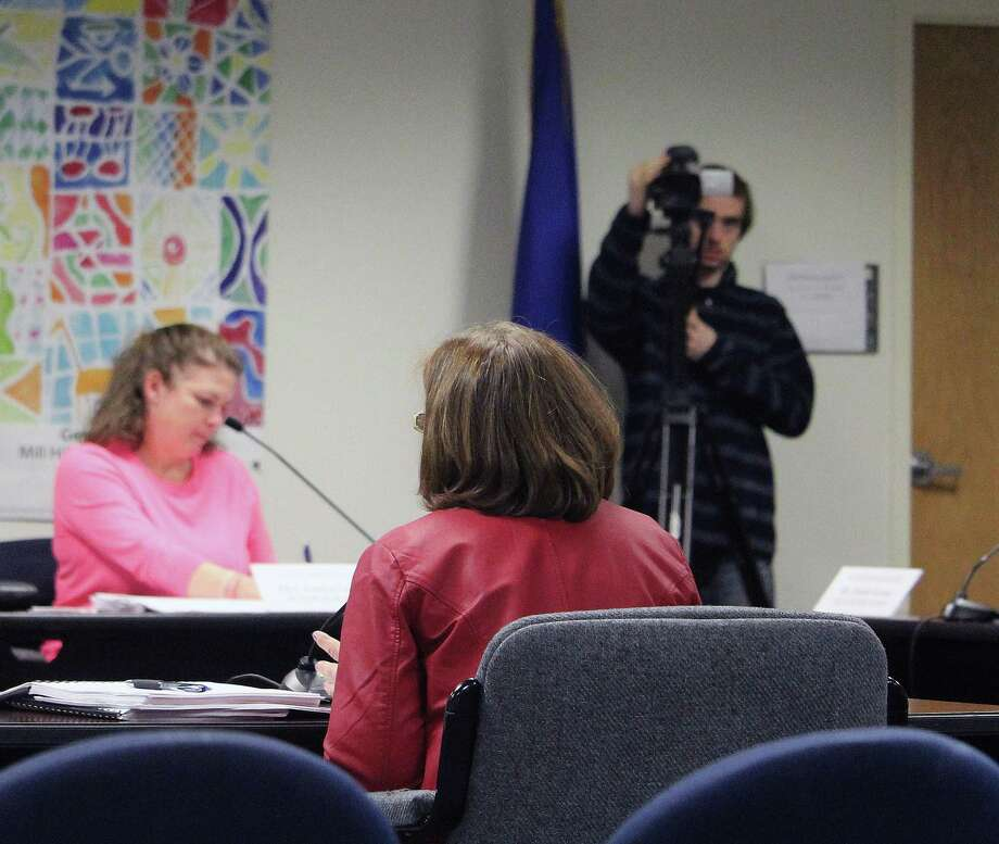 FairTV films at a Board of Education meeting in Fairfield, Conn. on Jan. 17, 2017. Photo: Laura Weiss / Hearst Connecticut Media / Fairfield Citizen