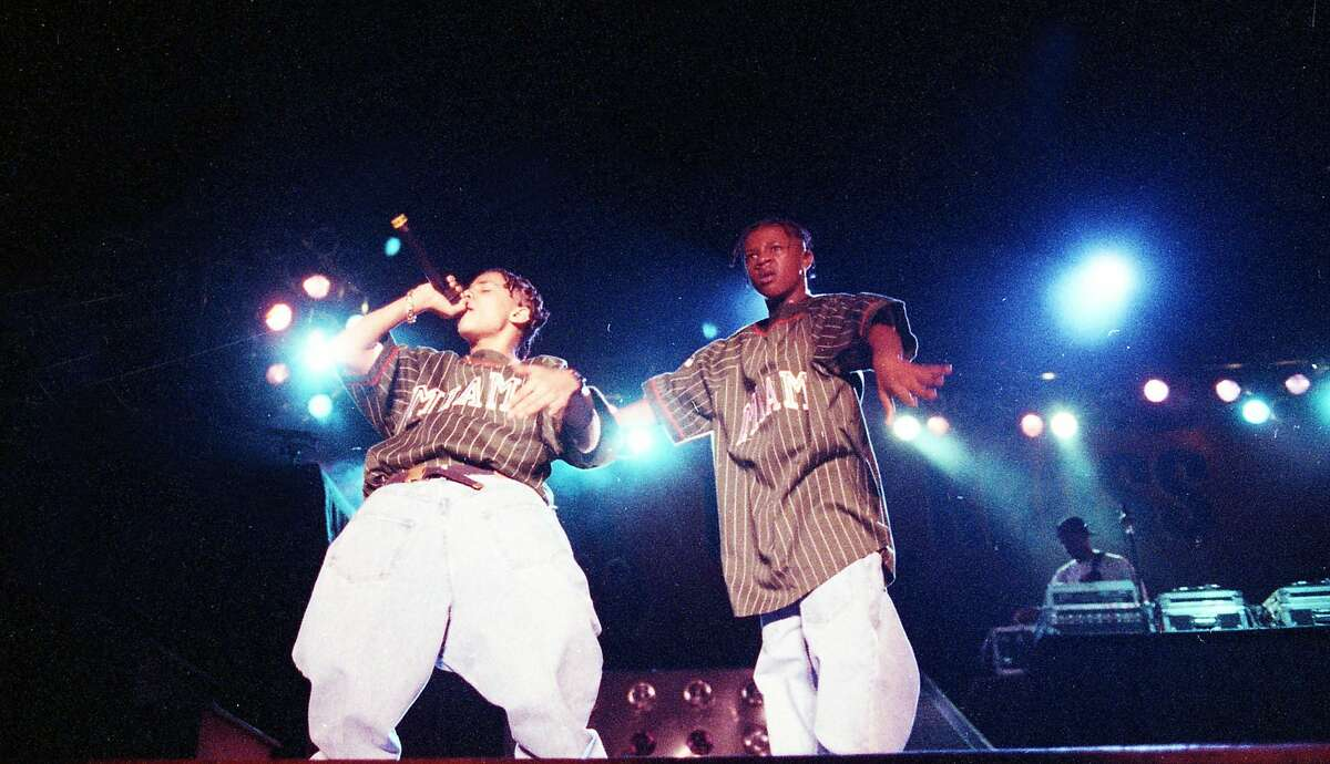 Sept. 27, 1992: Kris Kross performs at a concert in 1992 at Marriott's Great America in Santa Clara. The rappers are Chris Kelly, left, and Chris Smith.
