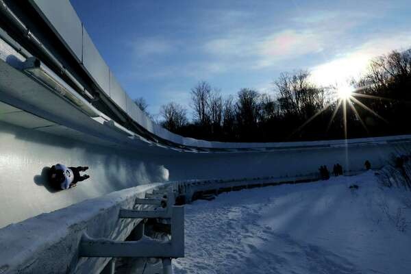 Nathan Crumpton of the United States completes his second run during day 1 of the 2017 IBSF World Cup Bobsled & Skeleton at Lake Placid Olympic Center on December 16, 2016 in Lake Placid, New York. (Photo by Maddie Meyer/Getty Images) ORG XMIT: 687332729
