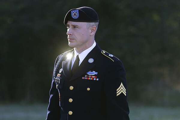 FILE - In this Jan. 12, 2016, file photo, Army Sgt. Bowe Bergdahl arrives for a pretrial hearing at Fort Bragg, N.C. Bergdahl, a former prisoner of war, faces a court-martial in April, accused of endangering his U.S. comrades by walking off his post in Afghanistan. President Barack Obama declined his request for a pardon before leaving office. (AP Photo/Ted Richardson, File)