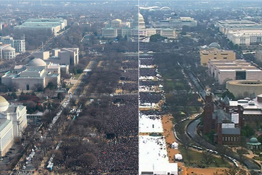 This pair of photos shows a view of the crowd on the National Mall at the inaugurations of President Barack Obama, left, on Jan. 20, 2009, and President Donald Trump, right, on Jan. 20, 2017. The photo above and the screengrab from video below were both shot shortly before noon from the top of the Washington Monument. (AP Photo) Photo: Associated Press
