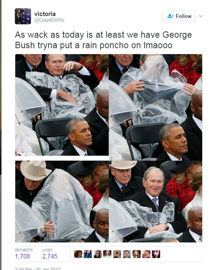 1. 43rd U.S President George W. Bush couldn't figure out how to work a poncho, smiled in defeat @CountOnVic: As wack as today is at least we have George Bush tryna put on a rain poncho lmaooo Photo: Twitter.com