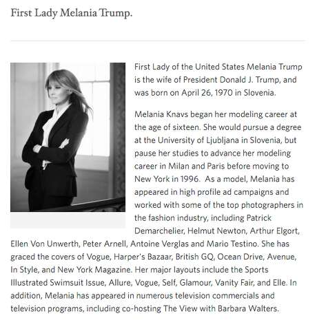 This screenshot from the White House website shows a snippet of Melania Trump's biography, including her modeling career.