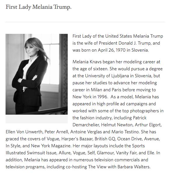 white house website highlights melania trump 39 s modeling