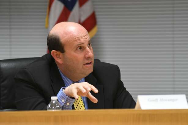 Democrat Geoff Alswanger answers questions as the Parent-Teacher Council of Stamford hosts a forum with the Board of Education candidates at the Government Center in Stamford, Conn., Oct. 27, 2016. Republican Nicola Tarzia and Democrats Antoine Savage and Jennienne Burke were also on hand to discuss Stamford's education system.
