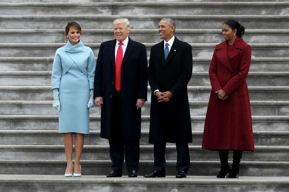 WASHINGTON, DC - JANUARY 20: President Donald Trump and former president Barack Obama stand on the steps of the  U.S. Capitol with First Lady Melania Trump and Michelle Obamal on January 20, 2017 in Washington, DC. In today's inauguration ceremony Donald J. Trump becomes the 45th president of the United States.  (Photo by Rob Carr/Getty Images) Photo: Rob Carr / Getty Images / 2017 Getty Images