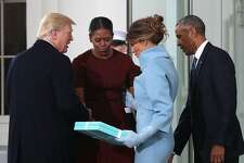 WASHINGTON, DC - JANUARY 20:  President-elect Donald Trump (L),and his wife Melania Trump (2ndR), are greeted by President Barack Obama and his wife first lady Michelle Obama, upon arriving at the White House on January 20, 2017 in Washington, DC. Later in the morning President-elect Trump will be sworn in as the nation's 45th president during an inaugural ceremony at the U.S. Capitol. (Photo by Mark Wilson/Getty Images)