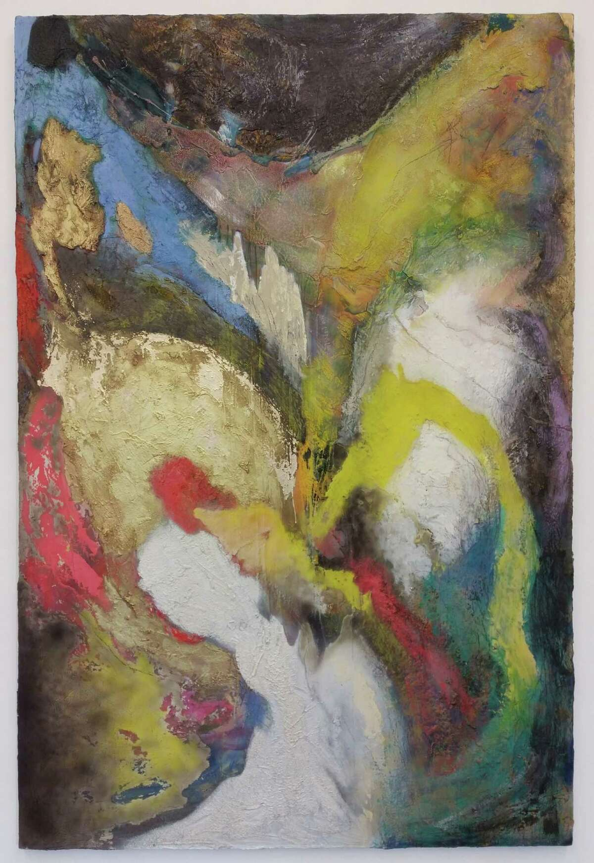 """Geoff Hippenstiel's lyrical """"Huffer"""" swirls with the energy of a bold palette and dense impasto."""