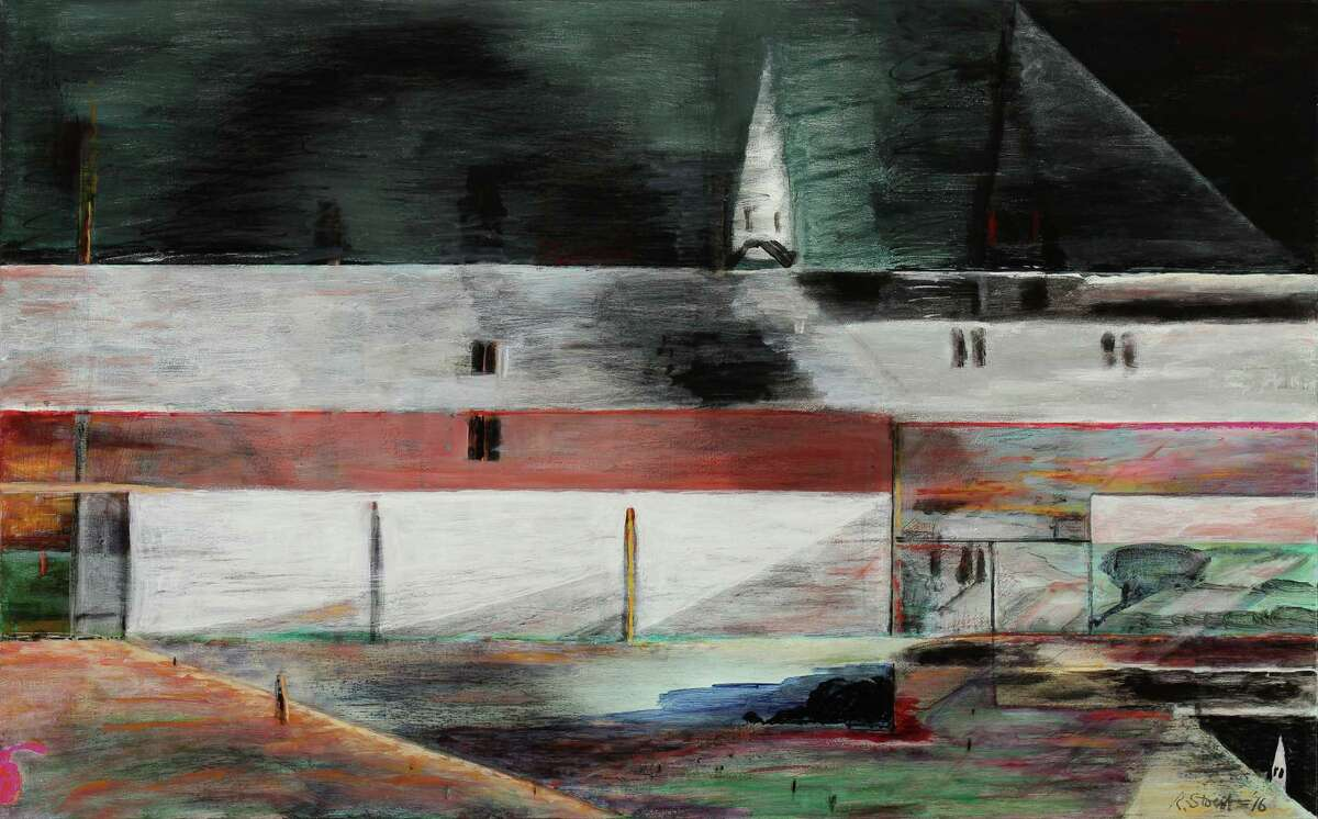 """The sober mood of Richard Stout's """"The Way"""" captures the poetry of familiar landscapes with a vivid horizontal composition."""