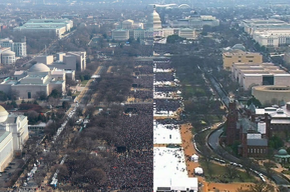 This composite photo shows a view of the crowd on the National Mall at the inaugurations of President Barack Obama, left, on Jan. 20, 2009, and President Donald Trump, right, on Jan. 20, 2017. The photo above and the screengrab from video below were both shot shortly before noon from the top of the Washington Monument. Keep going for more comparisons and images from the inauguration.