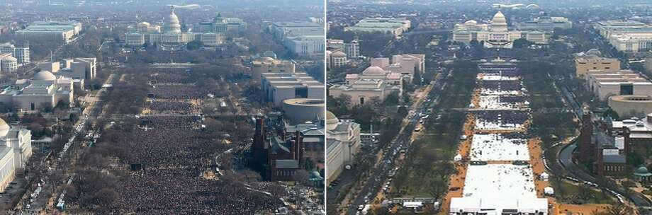 This pair of photos shows a view of the crowd on the National Mall at the inaugurations of President Barack Obama, left, on Jan. 20, 2009, and President Donald Trump, right, on Jan. 20, 2017. The photo above and the screengrab from video below were both shot shortly before noon from the top of the Washington Monument. Photo: The Associated Press