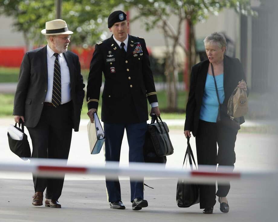 Sgt. Bowe Bergdahl's defense team of Attorney Eugene Fidell (from left), Lt. Col. Franklin Rosenblatt and Consultant Dr. Mary Connell leave after the first day of the Article 32 hearing for their client Sgt. Bergdahl at Joint Base San Antonio - Fort Sam Houston on Thursday, Sept. 17, 2015. (Kin Man Hui/San Antonio Express-News) Photo: Kin Man Hui, Staff / San Antonio Express-News / ©2015 San Antonio Express-News