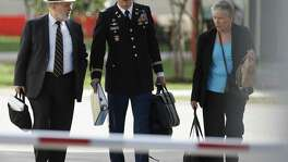 Sgt. Bowe Bergdahl's defense team of Attorney Eugene Fidell (from left), Lt. Col. Franklin Rosenblatt and Consultant Dr. Mary Connell leave after the first day of the Article 32 hearing for their client Sgt. Bergdahl at Joint Base San Antonio - Fort Sam Houston on Thursday, Sept. 17, 2015. (Kin Man Hui/San Antonio Express-News)