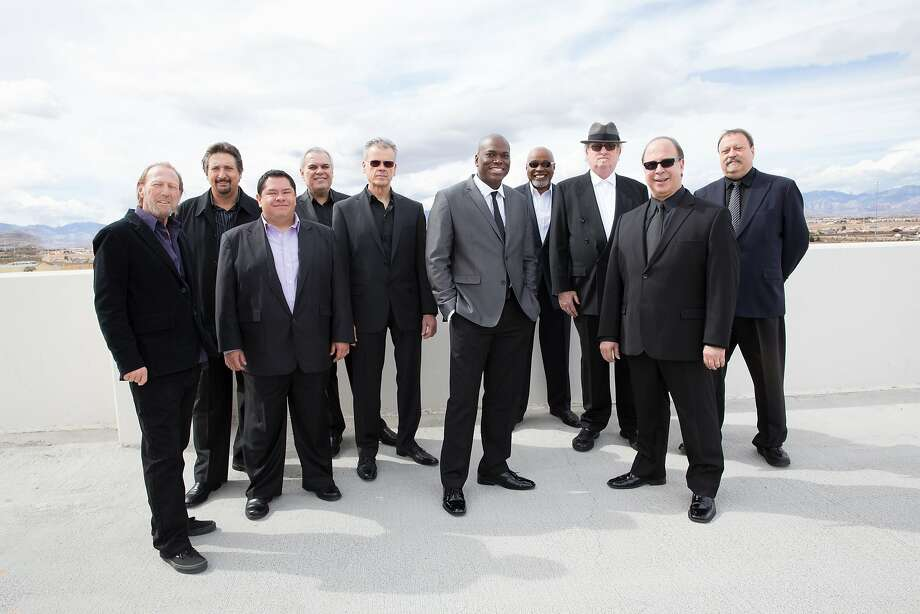 Tower of Power includes David Garibaldi (fifth from left) and Mark van Wageningen (not pictured), who were hit by a train. Photo: Courtesy Yoshi's