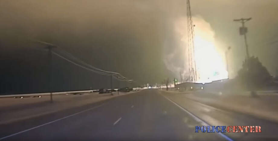 A massive gas explosion on Jan. 16, 2017, near Spearman in the Texas Panhandle was captured on police dashcam video. No injuries were reported, and no one lost natural gas service. The pipe is reportedly maintained by DCP Midstream. Photo: YouTube/Police Center