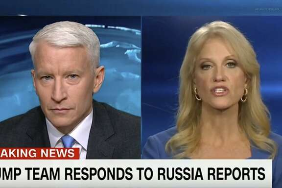 "This screen image from CNN shows anchor Anderson Cooper, left, and Trump adviser Kellyanne Conway during their 25-minute televised confrontation on CNN on Jan. 11, after the network reported that national intelligence officials informed the president-elect that the Russians had collected a dossier on his behavior. CNN did not specifically detail what that behavior was because it couldnt vouch for its veracity. But it was CNN that gave BuzzFeed the cover to do so, Conway said. ""You got the party started,"" she said."
