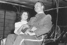 """Susan Granger with Red Skelton on the set of """"The Fuller Brush Man"""" in 1948."""