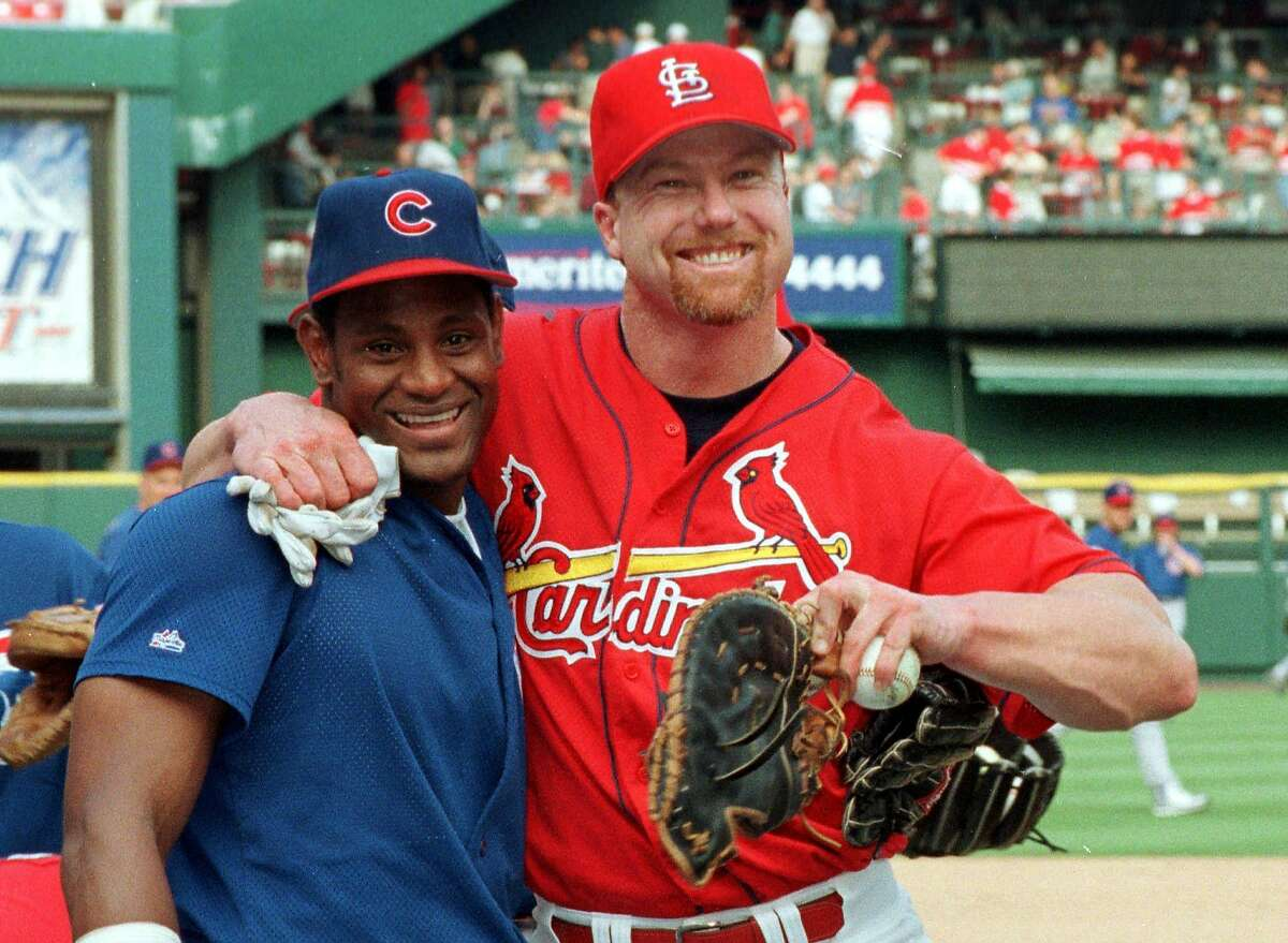 WAS09:SPORT-BASEBALL-MVP:ST. LOUIS,MISSOURI,19NOV98 - FILE PHOTO 7AUG98 - St. Louis Cardinals Mark McGwire (R) jokes with Chicago Cubs Sammy Sosa before the start of their series in St. Louis August 7. The two sluggers competed for much of the last half of the season for the home run title, with McGwire winning out, however Sosa was voted the National League MVP November 19 for his 66 home runs and helping to lead the Cubs to a wildcard playoff spot. rc/Photo by Tim Parker REUTERS, ALSO RAN 5/27/2001 ALSO Ran on: 03-12-2006 Mark McGwire (right) jokes with Sammy Sosa in 2001 when they competed for the home run title. McGwire won it, but Sosa was named National League MVP. Ran on: 05-27-2006 Sammy Sosa and Mark McGwire didnt save baseball in 1998, contrary to public opinion. The sport hasnt needed saving in 87 years. Ran on: 05-27-2006 Sammy Sosa and Mark McGwire didnt save baseball in 1998, contrary to public opinion. The sport hasnt needed saving in 87 years.