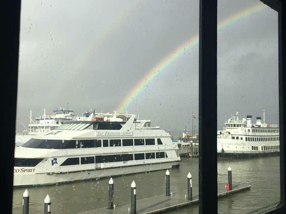 A double rainbow appeared above San Francisco on Friday, Jan. 20 Photo: Paul Carmen/Facebook