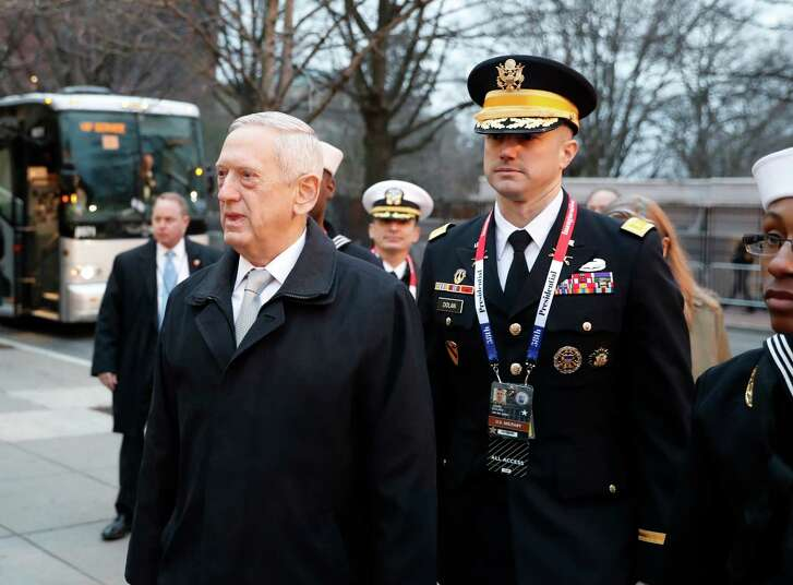 Defense Secretary-designate James Mattis arrives for church service at St. John's Episcopal Church across from the White House in Washington, Friday, Jan. 20, 2017, on Donald Trump's inauguration day. (AP Photo/Alex Brandon)