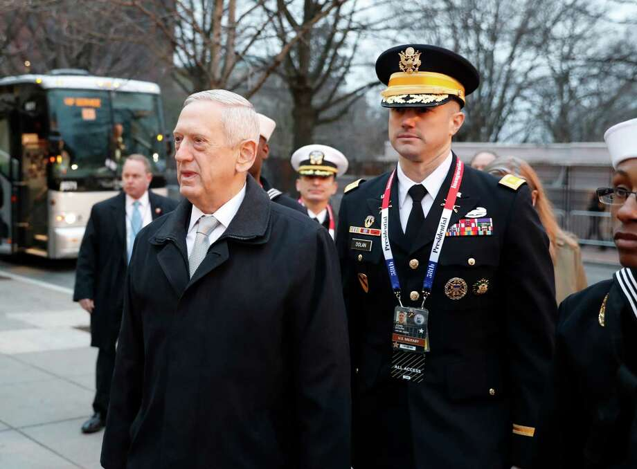 Defense Secretary James Mattis arrives for church service at St. John's Episcopal Church across from the White House in Washington, Friday, Jan. 20, 2017, on Donald Trump's inauguration day. (AP Photo/Alex Brandon) Photo: Alex Brandon, STF / AO