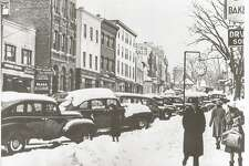 A cold and snow day on Greenwich Avenue in the mid-1900s is one of many historical nods being made during the 100th anniversary party of the Greenwich Chamber of Commerce.