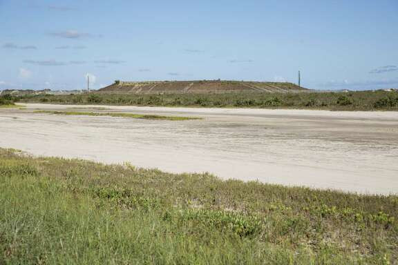 A mound that would host SpaceX's launch pad is seen in this 2016 photo. SpaceX recently delivered a large liquid oxygen tank to the site near Boca Chica beach.